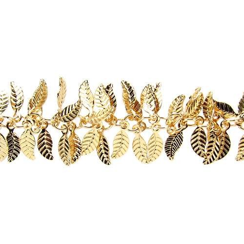 Leaf Chain with 4x6mm Leaves (1/2 ft) - Gold
