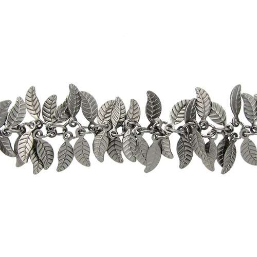 Leaf Chain with 4x6mm Leaves (1/2 ft) - Matte Gunmetal