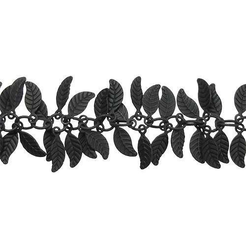 Leaf Chain with 4x6mm Leaves (1/2 ft) - Nite Black