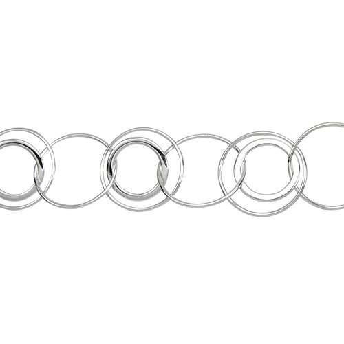 Multi Circle Chain - Silver Plate - per foot