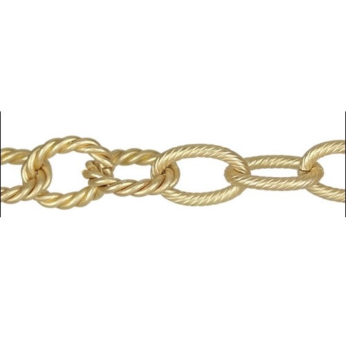 mixed rope etched chain MATTE GOLD per foot