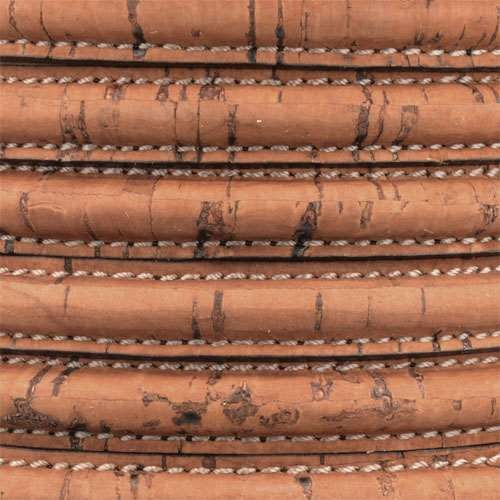 Mini Regaliz Portuguese Cork Stitched 10mm Oval Cord - Saddle Brown - per inch