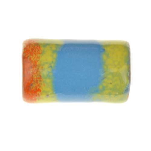 C-Koop Copper Enamel Slider Oval Large Hole 25mm - Blue / Orange / Yellow