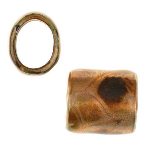 C-Koop Copper Enamel Slider Oval Large Hole 13mm - Turtle Shell