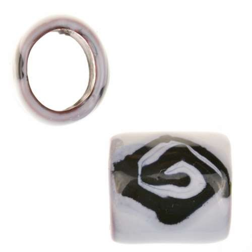C-Koop Copper Enamel Slider Oval Large Hole 13mm - Black / White