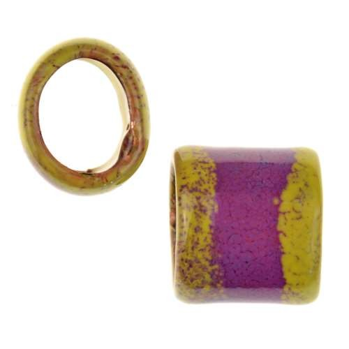 C-Koop Copper Enamel Slider Oval Large Hole 13mm - Orchid / Yellow