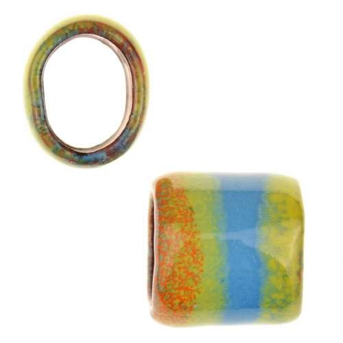 C-Koop Copper Enamel Slider Oval Large Hole 13mm - Blue / Orange / Yellow