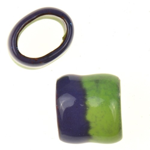 C-Koop Copper Enamel Slider Oval Large Hole 13mm - Grape / Lime Green
