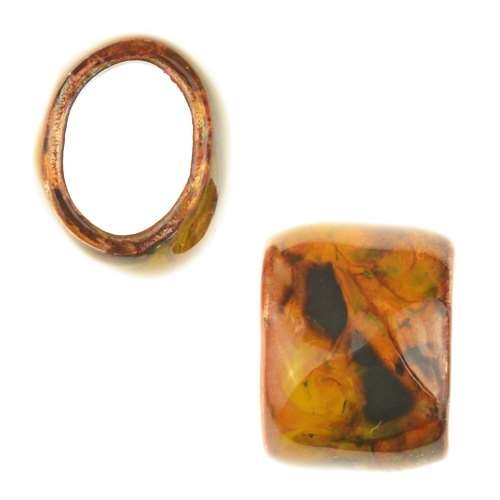 C-Koop Copper Enamel Slider Oval Large Hole 13mm - Goldenrod