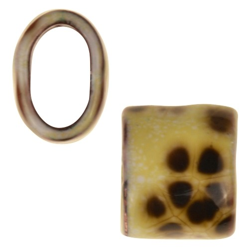 C-Koop Copper Enamel Slider Oval Large Hole 13mm - Yellow Agate