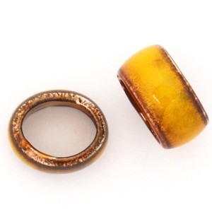 C-Koop Copper Enamel Slider Oval Large Hole 6mm - Goldenrod