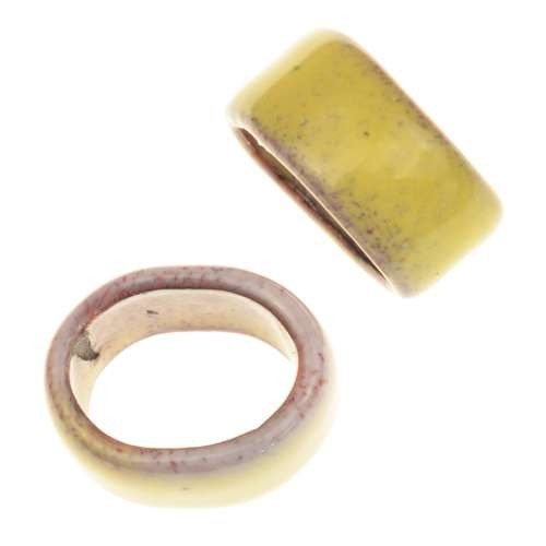 C-Koop Copper Enamel Slider Oval Large Hole 6mm - Butter