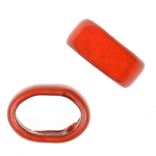 C-Koop Copper Enamel Slider Oval Large Hole 6mm - Orange Red