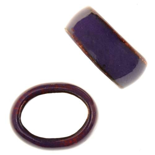 C-Koop Copper Enamel Slider Oval Large Hole 6mm - Grape
