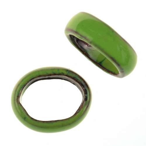 C-Koop Copper Enamel Slider Oval Large Hole 6mm - Lime Green