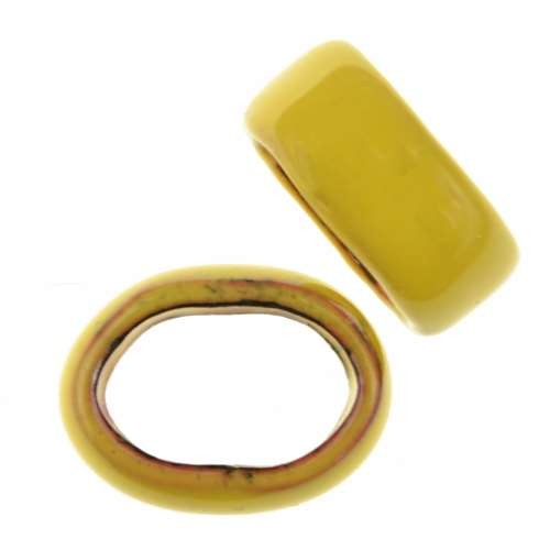 C-Koop Copper Enamel Slider Oval Large Hole 6mm - Yellow