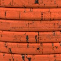 Regaliz Portuguese Cork 10mm Oval Cord - Orange - per inch