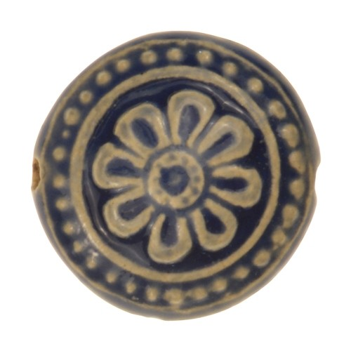 Claycult 25mm Flower Ceramic Disc - Italian Blue