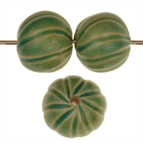 Claycult 14mm Baubles Round Ceramic Bead - Egyptian Green