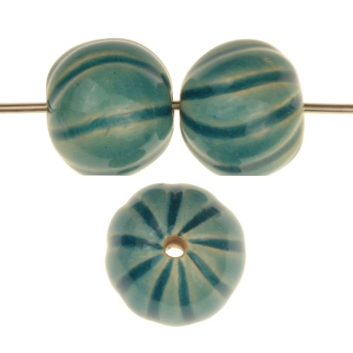 Claycult 14mm Baubles Round Ceramic Bead - Egyptian Blue