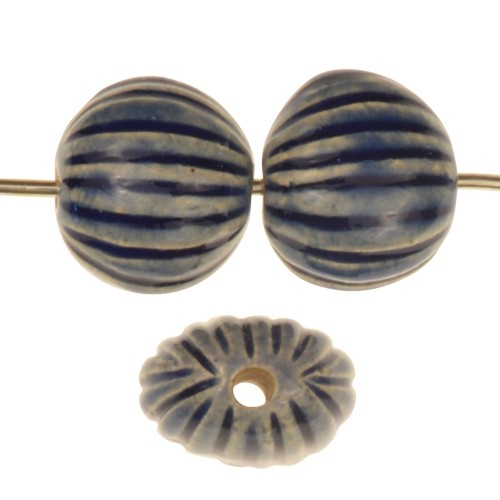 Claycult 13mm Small Incised Pillow Ceramic Bead - Italian Blue