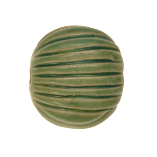Claycult 16mm Medium Incised Pillow Ceramic Bead - Egyptian Green