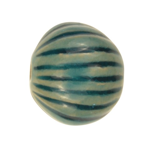 Claycult 16mm Medium Incised Pillow Ceramic Bead - Egyptian Blue