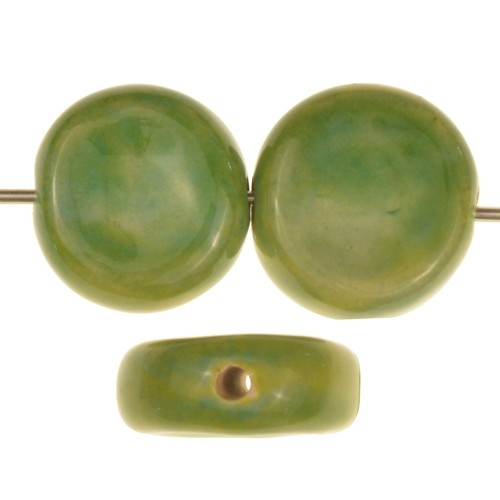 Claycult 16mm Two-Tone Coin Ceramic Bead - Spring Green