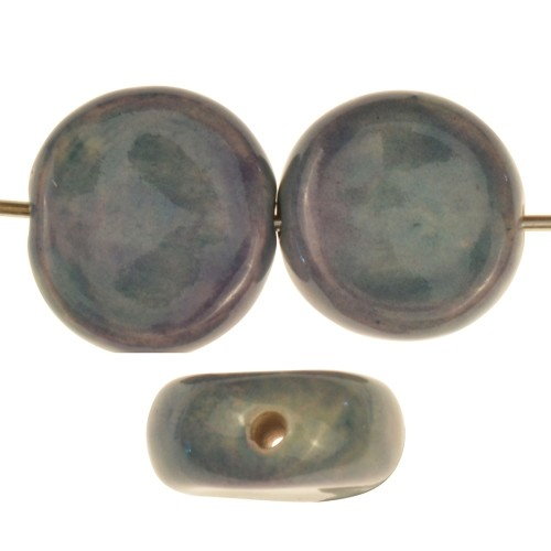 Claycult 16mm Two-Tone Coin Ceramic Bead - Light Denim