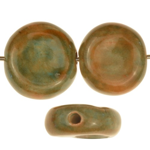 Claycult 16mm Two-Tone Coin Ceramic Bead - Tangerine