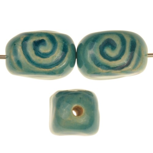 Claycult 18mm 4-Sided Spiral Stamped Ceramic Bead - Egyptian Blue