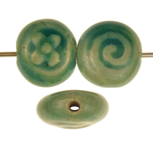Claycult 13mm 2-Sided Flower / Spiral Stamped Pillow Ceramic Bead - Egyptian Green