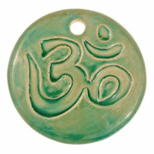 Claycult 55mm Om Round Ceramic Pendant - Egyptian Green