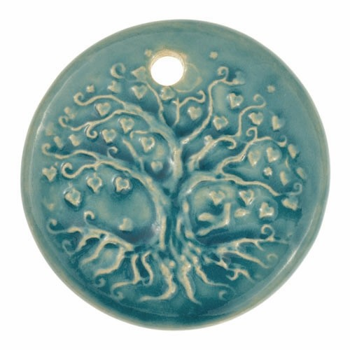 Claycult 55mm Tree of Life Round Ceramic Pendant - Egyptian Blue