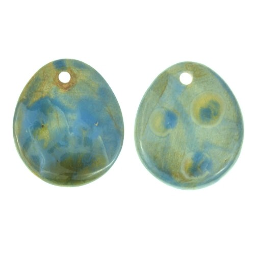 Claycult 25mm Teardrop Flat Ceramic Pendant - Blue Poppy (rutile/storm)