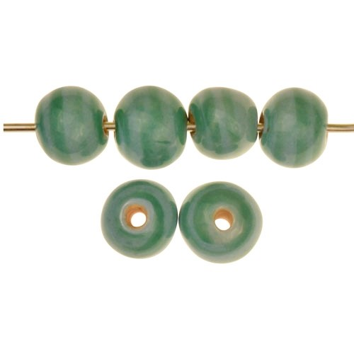 Claycult 10mm Striped Round Ceramic Bead - Green
