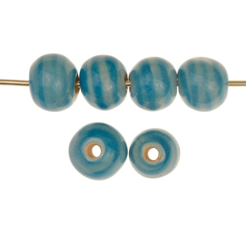 Claycult 10mm Striped Round Ceramic Bead - Blue