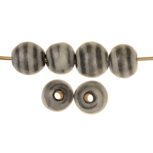 Claycult 10mm Striped Round Ceramic Bead - Black