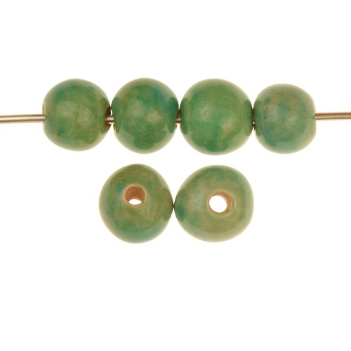 Claycult 10mm Solid Round Ceramic Bead - Egyptian Green