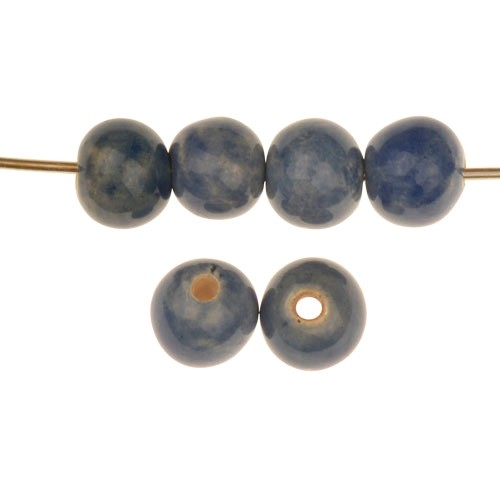 Claycult 10mm Solid Round Ceramic Bead - Italian Blue