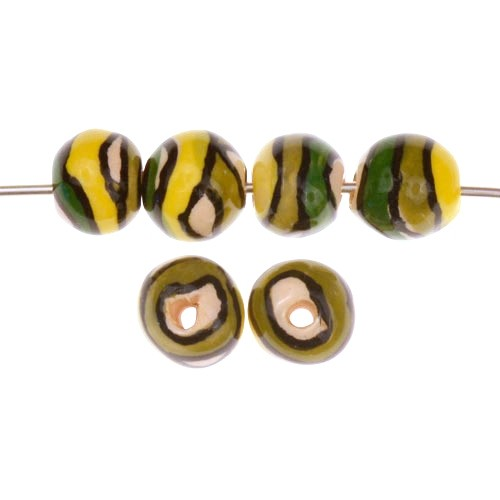 Claycult 10mm Twiggy Round Ceramic Bead - Eucalyptus