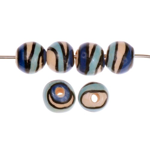 Claycult 10mm Twiggy Round Ceramic Bead - The Blues