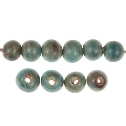 Claycult 6mm Round Ceramic Bead - Turquoise Red (ablaze/egyptian blue)