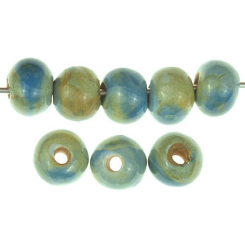 Claycult 8mm Round Ceramic Bead - Blue Poppy (rutile/storm)