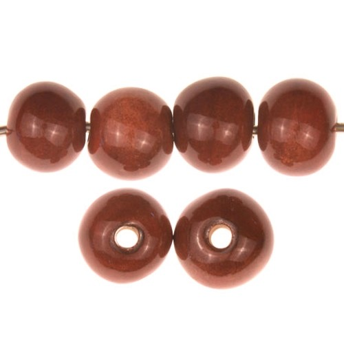 Claycult 10mm Round Ceramic Bead - Chocolate Cherry