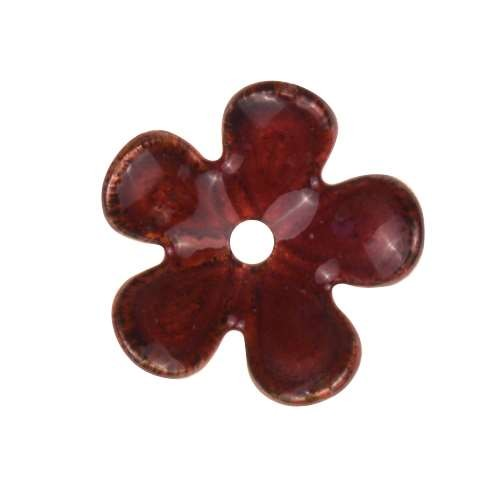 C-Koop Copper Enamel Rivetable / Stackable Flower Petal 5 Round 15mm - Ruby