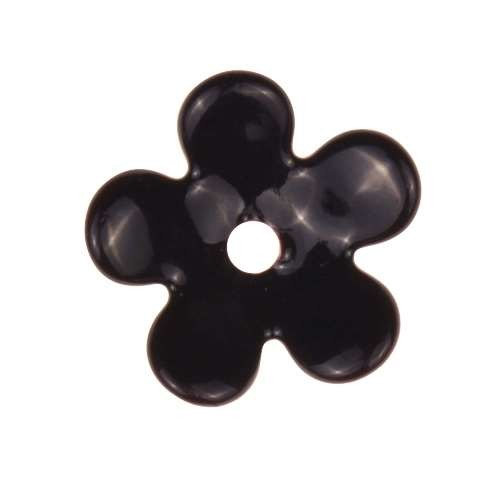 C-Koop Copper Enamel Rivetable / Stackable Flower Petal 5 Round 15mm - Black