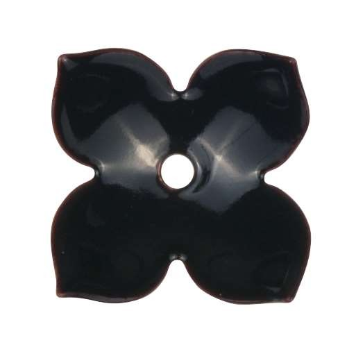 C-Koop Copper Enamel Rivetable / Stackable Flower Petal 4 Pointed 22mm - Black