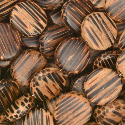 Old Palmwood Bead Coin 12mm - strand