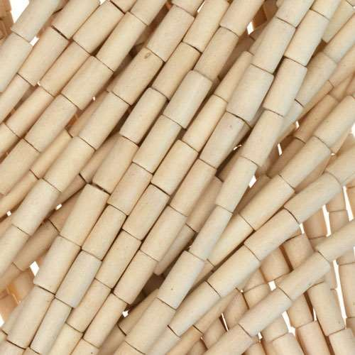 White Wood Natural Bead Tube 2x6mm - strand